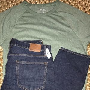🍃 NWT GAP 33 30 jeans and softest tee M athletic